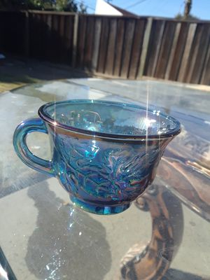 12 Carnival Glass Iridescent blue punch cups and hooks for Sale in Milpitas, CA
