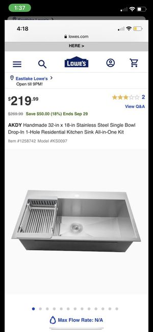 32x18inch Single Bowl Kitchen Sink for Sale in Spring Valley, CA
