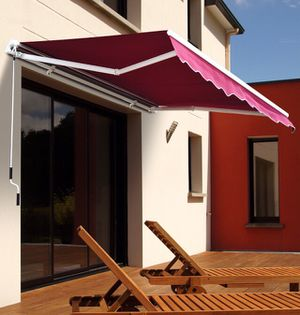 New in box Manual Patio 10 feet wide × 8' Retractable Sunshade Awning deck cover sun block canopy shade burgundy red toldo mounting hardwares include for Sale in San Dimas, CA