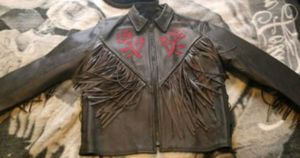 Black rose and fringe leather riding jacket for Sale in Des Moines, IA