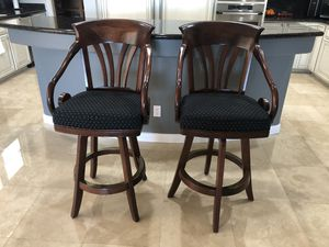 💥2- WOOD, SWIVEL, UPHOLSTERED BAR STOOLS💥 for Sale in Las Vegas, NV