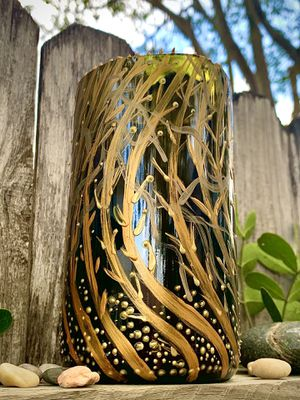 Hand painted glass candle holder for Sale in San Antonio, TX
