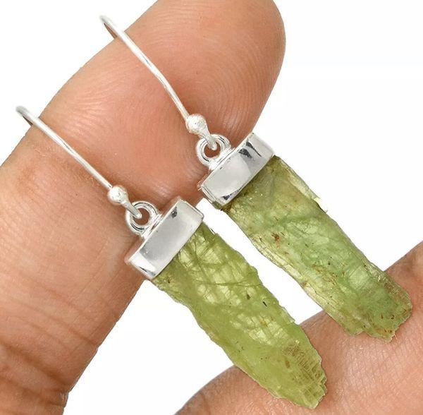 Rough Green Kyanite 925 Earrings