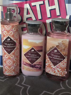 Portofino Pink Prosecco Fine Fragrance Mist, Body Shower Gel And Ultra Shea Body Cream by Bath And Body Works. All 3 for $13.00 A Great Inexpensive G for Sale in Fontana, CA