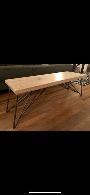 Custom reclaimed wood coffee table with steel welded legs for Sale in Puyallup, WA
