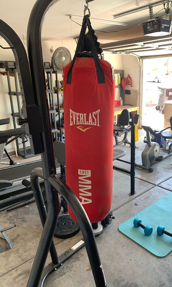 Punching bag ,stand, and speed bag...