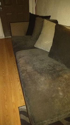 Extended suede gray couch for Sale in Tulsa, OK