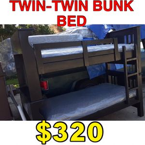 Twin twin bunk bed with mattress included for Sale in Los Angeles, CA