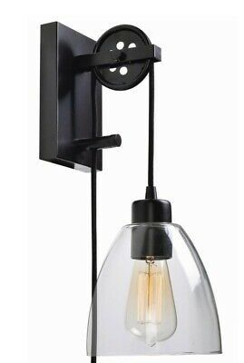 Wall Sconce 1 Light Clear Glass Adjustable Pulley Vintage LED Bulb Home Lighting for Sale in Pearland, TX