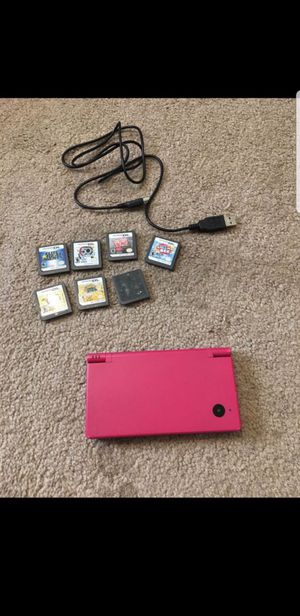 Pink nintendo ds dsi lite 7 games with mario kart for Sale in Tampa, FL