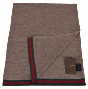 Gucci Brown 100% Wool Green Red Web Scarf for Sale in Doral, FL