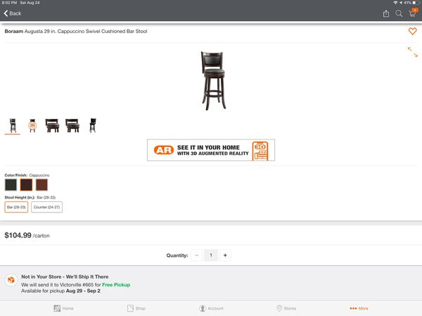Boraam Augusta 29 in. Cappuccino Swivel Cushioned Bar Stool brand new in box beautiful chair strong regular price Home Depot $109.99 plus tax total