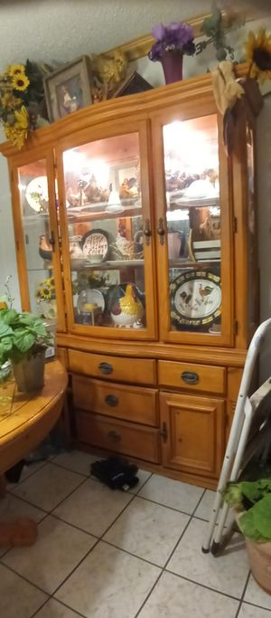 China cabinet, collector's figurines, table, space saving cd & radio, board games for Sale in Arlington, TX