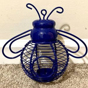 Blue Metal Bumble Bee Garden Outdoor Candle Holder Home Garden Decoration Accent Made In India for Sale in Chapel Hill, NC