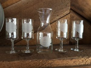 Wine carafe and 4 glasses for Sale in Houston, TX