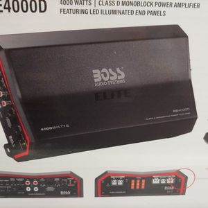 Car amplifier : new BOSS elite 4000 watts class D monoblock power amplifier 1 ohm built in crossover 40a fuse ×3 remote sub control ( brand new ) for Sale in Commerce, CA