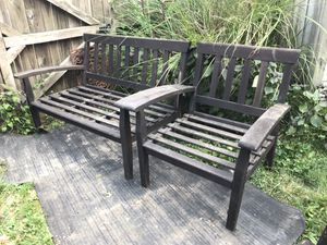 Patio deck 2 love seats 3 chairs wood 2 chairs HDPE for Sale in North Springfield, VA
