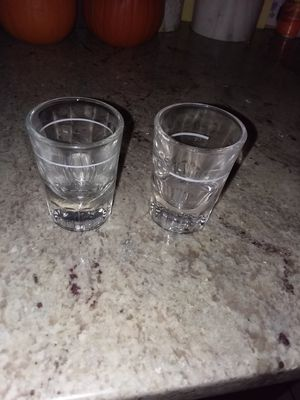 Set of 2 heavyweight thick glass collectible shot glasses for Sale in Lynn, MA
