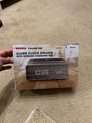 Ion Charge Time Alarm Clock Speaker Qi Wireless & USB Charging Pad GRAY WOOD for Sale in Malden, MA