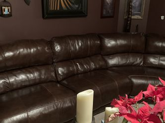 Leather sectional with 4 recliners for Sale in Rockdale,  IL