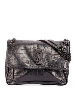 YSL Saint Laurent Niki Black Croc Leather Shoulder Bag for Sale in Harrison, NJ