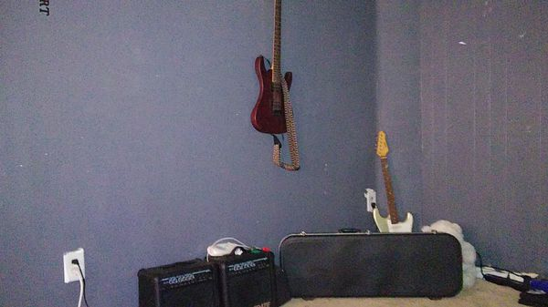 Dean vendetta guitar and austin guitar with a case with amp and pedal