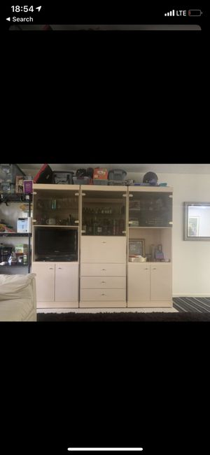 Wall unit. Tv stand storage furniture shelves wine rack book case for Sale in Delray Beach, FL