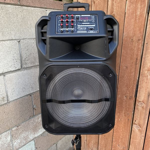 """15""""WOOFER-7000 WATTS/Bluetooth-Fm radio ( SPEAKER STAND INCLUDED ! ) (MICROPHONE & CONTROL FOR KARAOKE) (3-6 HOURS BATTERY LIFE-PORTABLE) MEMORY SLOT"""
