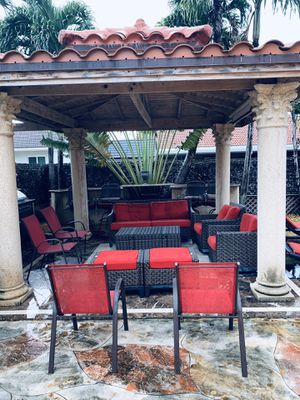 Patio furniture red color , (water proof material) very comfortable ,beautiful set of furniture outdoor use mainly , can also be put inside for Sale in Miami, FL