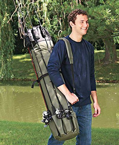 Fly or reel fishing rod tackle box organizer bag for hooks, line, bait, lures and other equipment