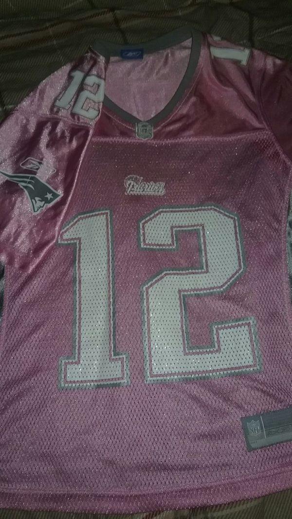 official nfl rbk brady patriots jersey pink ladies s/m