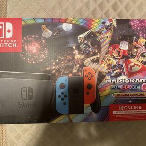 Nintendo Switch Joy-Con Neon Blue/Red + Mario Kart 8 Deluxe + 3 Months Online Bundle for Sale in Commerce, CA
