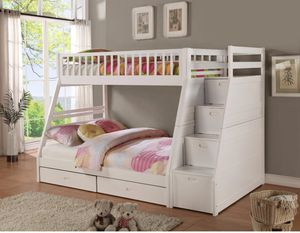Honey White Twin/Full Storage Stairecase Bunk Bed | 4474W for Sale in Jessup, MD