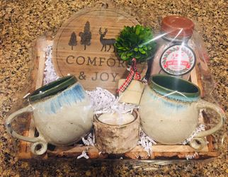 Etsy Christmas Holiday Gift Basket Mugs Cocoa Topiary Candle Trivet Tray for Sale in Gig Harbor,  WA