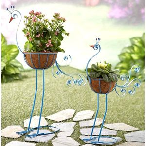 Set of 2 Bird Metal Planters With Coconut Fiber Baskets. Assembly Required for Sale in Las Vegas, NV