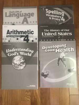Abeka teachers key books 4th grade for Sale for sale  Riddleton, TN