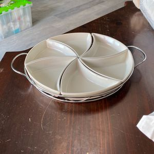 Godinger Porcelain 6 Section Relish Server w/ Chrome Plated Metal Rack (1 of 2) for Sale in Plano, TX