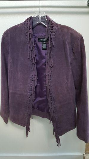Ladies purple leather fringe jacket, XS for Sale in Austin, TX