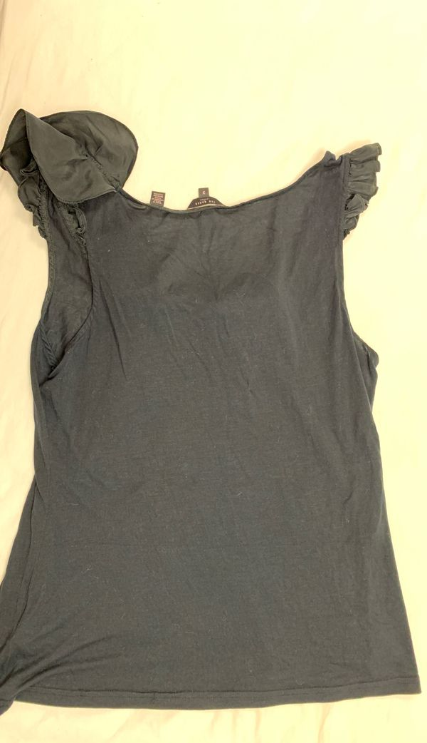 Ted Baker black woman shirt size 3 silk and modal