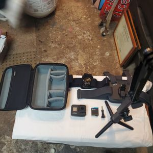 hero 8 GoPro and extra battery w/ head, hat, chest, tripod/selfie stick and carry case for Sale in Oak Harbor, WA