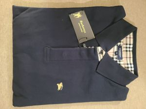 Burberry mens long sleeve polo shirt, Dark blue XXL for Sale in Coral Springs, FL