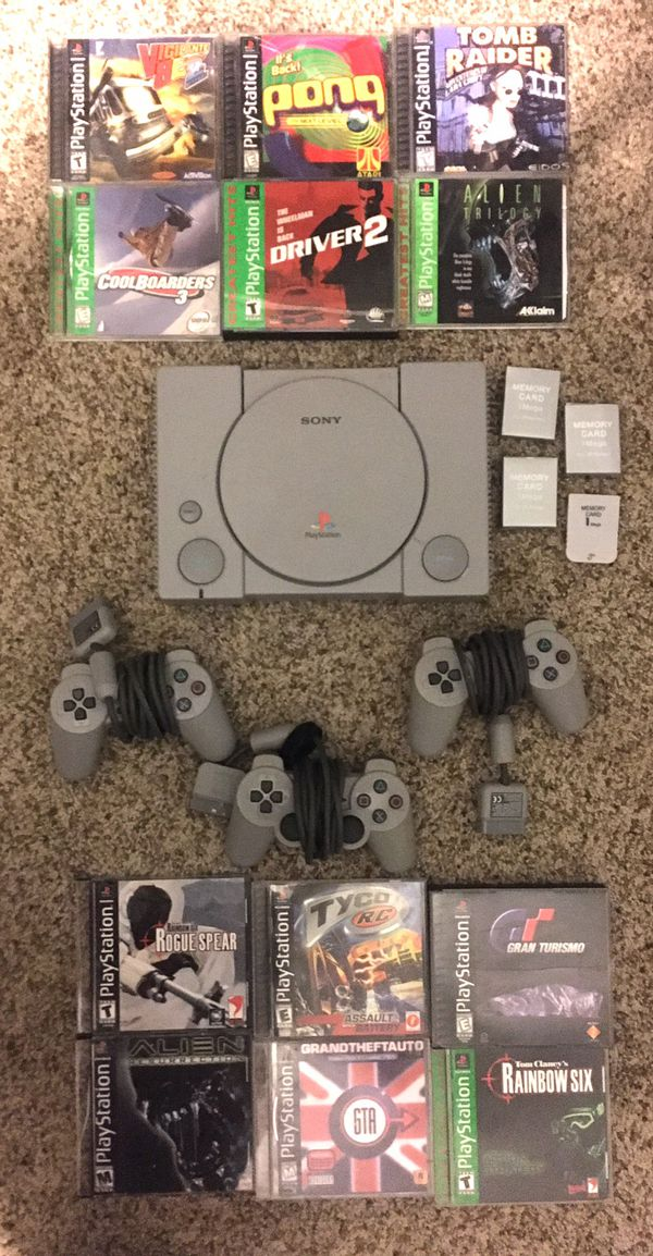 PlayStation 1 with 3 controllers 3 memory cards and 12 games (PlayStation ps 1 2 3 4 5 Xbox One Google Stadia retro vintage arcade gta grand theft au