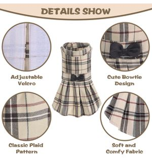 Classic Plaid Pet Dress - Cute Pet Clothes Outfit with Bow Design for pets, Medium, Beige for Sale in Las Vegas, NV
