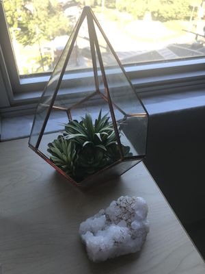 Geometric Glass Succulent and Quartz Stone for Sale in Tampa, FL