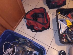 Miscellaneous hand and power tools plus several toolbags and rolling tool bin for Sale in Denver, CO