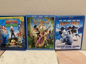 Tangled, Happy Feet, Monsters vs Aliens for Sale in Corona, CA