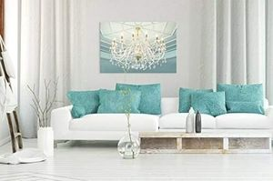 ((FREE SHIPPING)) crystal clear chandelier and the light blue dome modern home decor Painting like print for Sale in San Jose, CA