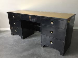 vintage mid century black lacquer desk with gold mirror top. for Sale in Seattle, WA