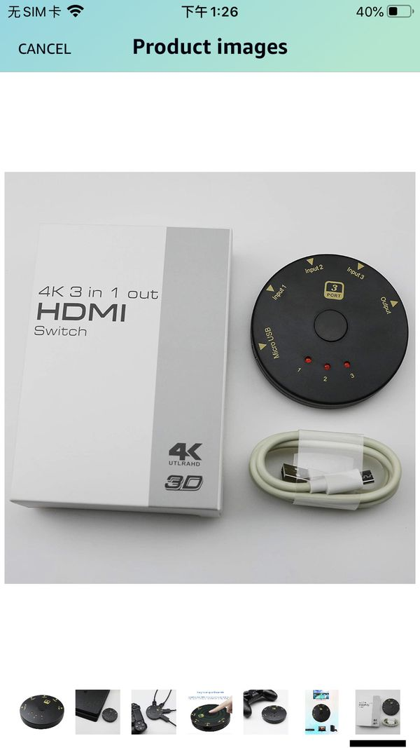 HDMI Switch 3 in 1 Out 3 Port 4K Switcher Box Splitter High 18Gbps Support HDCP2.2,HDMI2.0,HDR, 4K Full HD 1080P 3D Player Apple TV Fire Stick PS4 PS