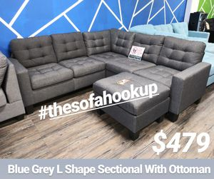 Yes We Finance 😁 On Display - Blue Grey L Shape Couch Sofa Sectional With Ottoman for Sale in Los Angeles, CA